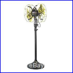 10Electric Floor Fan Double Sided Oscillating Brass Blade Vintage Antique Style
