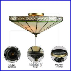 16 Tiffany Style Flush Mount Ceiling Light Stained Glass Shade Lamp Fixture
