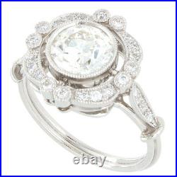 18kt 1.70ct Certified Old European Cut Diamond Antique Style Engagement Ring
