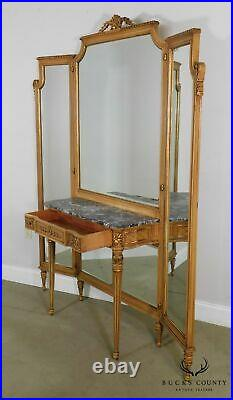 1920's Vintage French Louis XVI Style Tri-Fold Mirror With Dressing Table, Vanity