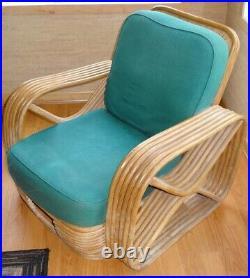 1940s Mid Century Frankl Style Rattan Chair & Ottoman
