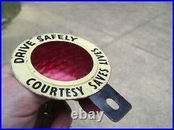 1950s Antique Auto Drive Safely license Plate topper Vintage Chevy Hot rat Rod