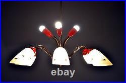 1950s Atomic Red Star Hanging Pendant Light Vintage Original Stilnovo style