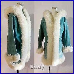 1960s/1970 Blue Suede Penny Lane Style Coat With Fur Trim And Hood