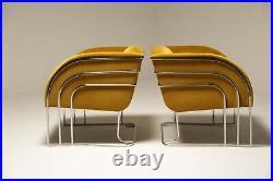1970s Art Deco Gold Velvet and Chrome Milo Baughman Style Lounge Chairs