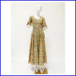 1970s Vintage Patchwork Gunne Sax Style Dress with Lace Black Velvet Ribbon Trim