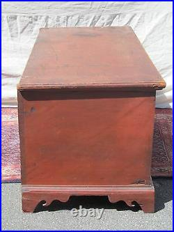 19th C Chippendale Style Antique Painted Blanket Chest / Box On Bracket Feet