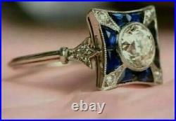 2.5 Ct Diamond Art Deco Vintage Style Engagement Antique Ring 14K White Gold FN