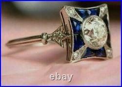 2.5 Ct Diamond & Sapphire Art Deco Vintage Style Ring 14K White Gold Finish
