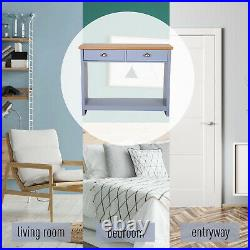 2-Drawer Console Table with Bottom Shelf Retro Style Hallway Living Room Furniture