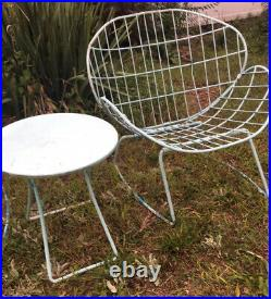 2 Salterini Style Mid Century Modern Metal Clam Shell Chairs + Table