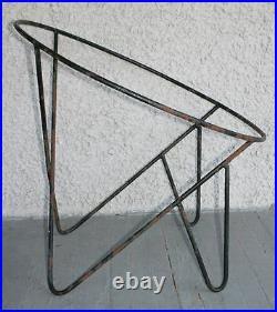 2 Vintage Wrought Iron Modern Hoop Chair Frames. Frederick Weinberg Style. RARE