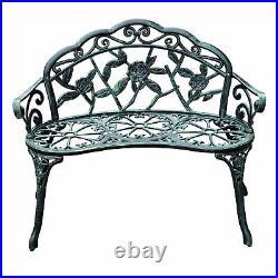 40 Antique Style Patio Porch Garden Bench Cast Aluminum Outdoor Chair Rose