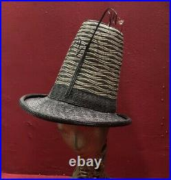 40s Style High Crown Straw Raffia Tilt Vintage Italy Black Gold Hat