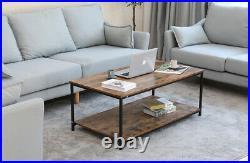 41 Wood Coffee Table Shelf Storage Drawer Metal Feet Retro Style with Storage