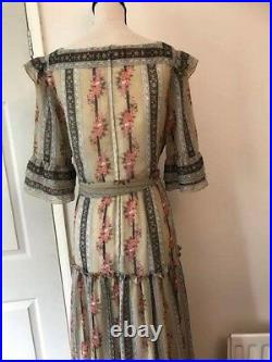 70s Vintage Victorian Style Maxi Dress By Kati At Laura Phillips Size-S Good C