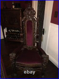 8 Gothic Hand-carved Mahogany European style Medieval Antique Throne Chairs
