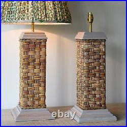 A Pair of Soane Britain Style Vintage Rattan Wicker Brass Hall Side Table Lamps