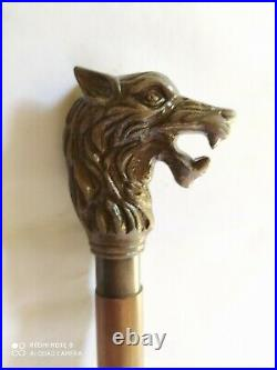 Antique Beautiful Wolf Head Walking Stick Vintage Style Nautical Gift Canes