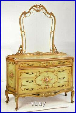 Antique Bed and Dresser, Bedroom Suite, Venetian Louis XV Style Paint Decorated