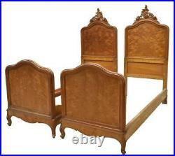 Antique Beds, Pair of Italian Louis XV Style, 19th C, 1800s, Foliate Crest