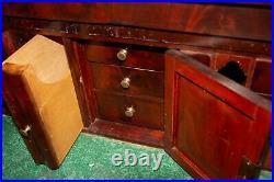 Antique Butler's Desk Dresser Empire Style Pull Down Stationary Mahogany 1800's