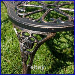 Antique Designed Rose Style Outdoor Patio Park Garden Bench Bronze Love Seat