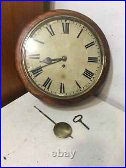 Antique English Fusee Wall Clock Postal Pub Or Gallery Style Round Case