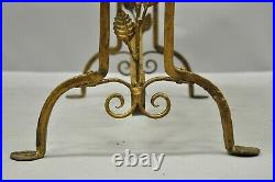 Antique French Art Nouveau Style Pink Marble Top Gold Wrought Iron Side Table