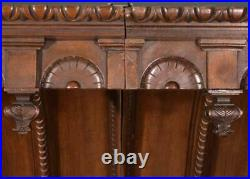 Antique French Hunting Style Queen/King Canopy Bed/Headboard in Walnut