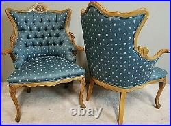 Antique French Louis VX Style Tufted Floral Parlor Chairs Armchairs A Pair