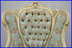 Antique French Louis XV Provincial Style Cream Painted Bergere Wingback Chair