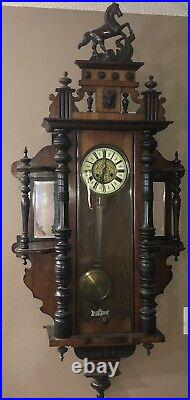 Antique Gustav Becker German Style Vienna horse top wall clock