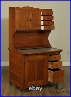 Antique Oak Hoosier Style Country Kitchen Cabinet, Cupboard
