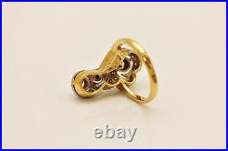 Antique Russian 18k Gold Art Nouveau Style Natural Diamond Decorated Ring