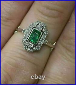 Antique Style Art Deco 1.50Ct Emerald Cut Emerald Ring 14K White Gold FN 925 SS
