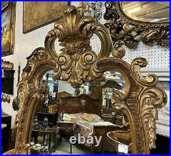 Antique Style Country French Beveled Glass Carved Cheval Mirror Baroque 6ft Tall