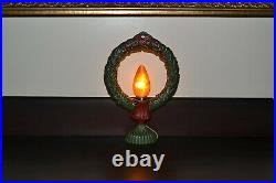 Antique-Style Electric Christmas Wreath Light with Hand-Painted Candle Flame Bulb