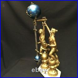 Antique Vintage Double Statue Swinger Swinging Mystery Clock Ansonia Style