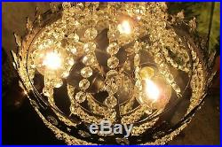 Antique Vintage. French Basket Style Crystal Chandelier Lamp Light Lüster 1940's