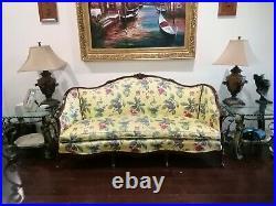 Antique Vintage Louis XV Styled Loveseat / Sofa / Settee. Carved Oak Wood Frame
