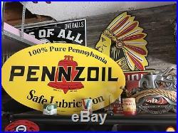 Antique Vintage Old Style Pennzoil Sign 40