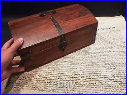 Antique Vintage Style Dome Top Document Travel Writing Wood Desk Trunk Box HEAVY