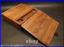 Antique Vintage Style Folding Document Writing Slope Lap Desk Campaign Box