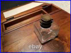 Antique Vintage Style Folding Writing Slope Lap Desk Box with Inkwell Pen Ink