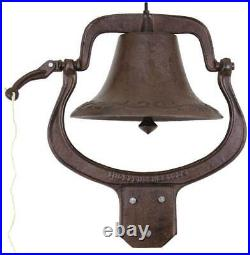 Antique Vintage Style Large Cast Iron Dinner Farm Bell Outdoor Church School
