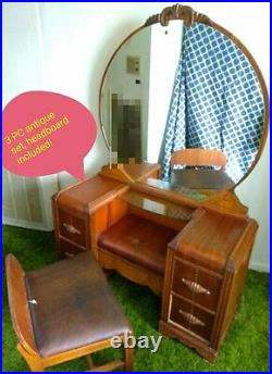 Antique bedroom set with vanity waterfall style great condition