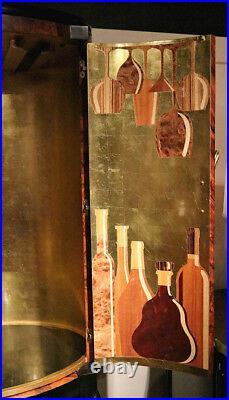 Art Deco Style Liquor cabinet Bar Tropic Walnut Gold leaf Mid Century Modern New