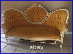 Authentic Vintage Victorian Style Cameo Sofa With Chairs Kimball Furniture USA