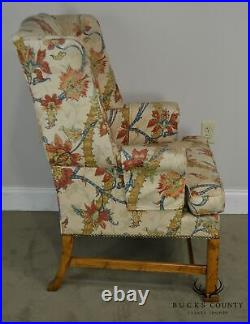 Baker Chippendale Style Vintage Pair Wing Chairs